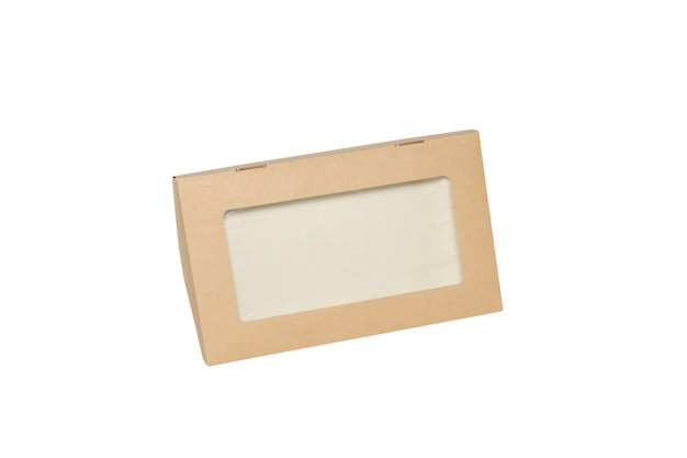 Pudełko brązowe okno kwadratowy kształt wycięty szablon opakowania, puste pudełko kartonowe karton na białym tle, pudełka papier kraft naturalny materiał, pudełko brązowy papier z kartonu przemysłowego