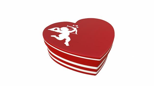 Pudełko czekoladek w kształcie serca na białym tle 3drendering
