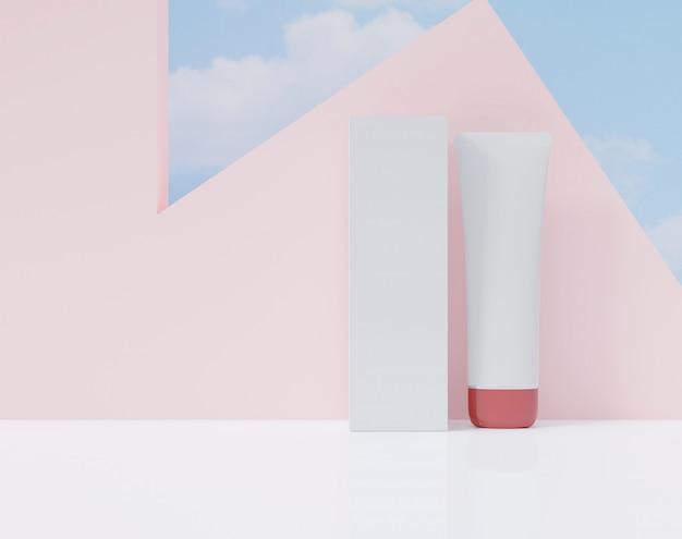 Pudełko i tuba na białym kolorze. plakat reklam kosmetycznych.