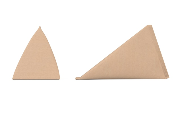 Pudełko kartonowe trójkąt krem, sok lub mleko pack mock up na białym tle. renderowanie 3d