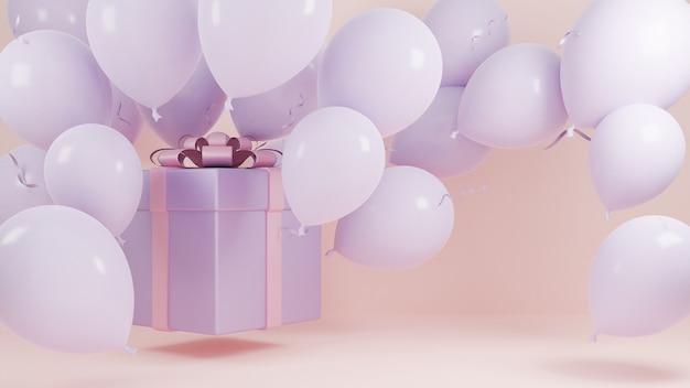 Pudełko na prezent latać w powietrzu z balonem i pastelowym tłem różowej wstążki., koncepcja tła bożego narodzenia i szczęśliwego nowego roku., model 3d i ilustracja.