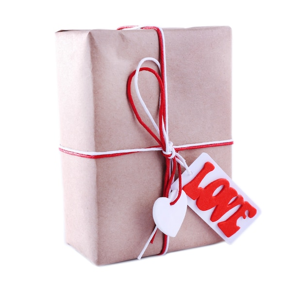 Pudełko na prezent na białym