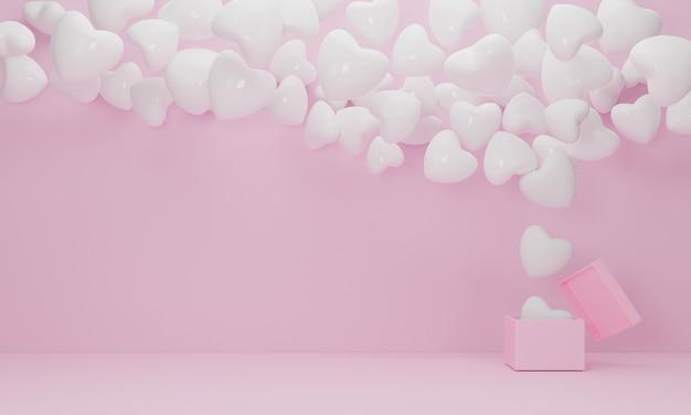 Pudełko na prezent otwarty biały balon serce unosi się na różowym tle, symbole miłości do szczęśliwych kobiet, matki, walentynki, urodziny koncepcja. renderowanie 3d