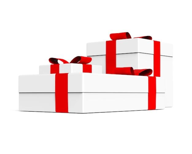 Pudełko na prezent z czerwoną wstążką i ilustracją opakowania kokardki na sprzedaż bożonarodzeniową nowego roku