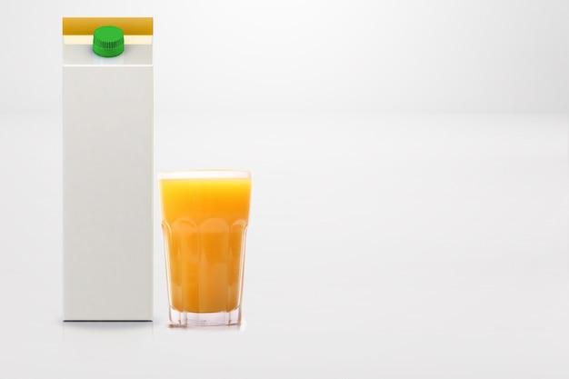 Pudełko na sok pomarańczowy i biały na białym tle
