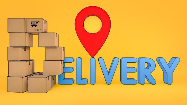 Pudełko papierowe jest ułożone w kształcie litery d z czcionką dostawy i czerwonymi wskaźnikami pinezki., zakupy online i koncepcja dostawy., renderowanie 3d.