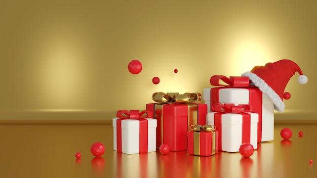Pudełko prezentowe renderowania 3d i santa hat na złotym tle, boże narodzenie i szczęśliwego nowego roku.