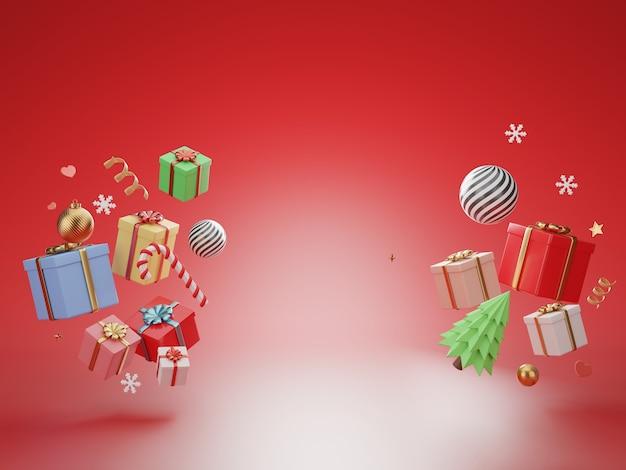Pudełko prezentowe renderowania 3d na czerwonym tle
