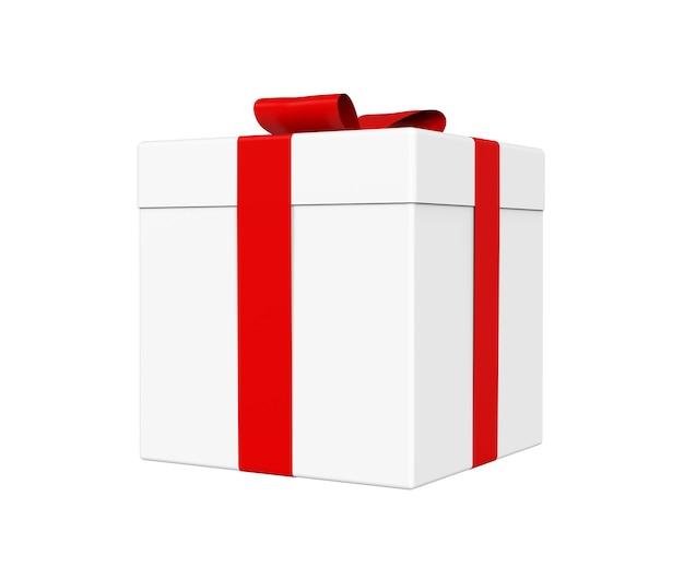 Pudełko prezentowe w kolorze białym z czerwoną wstążką i kokardką na białym tle