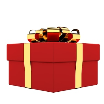 Pudełko prezentowe ze złotą wstążką i kokardką