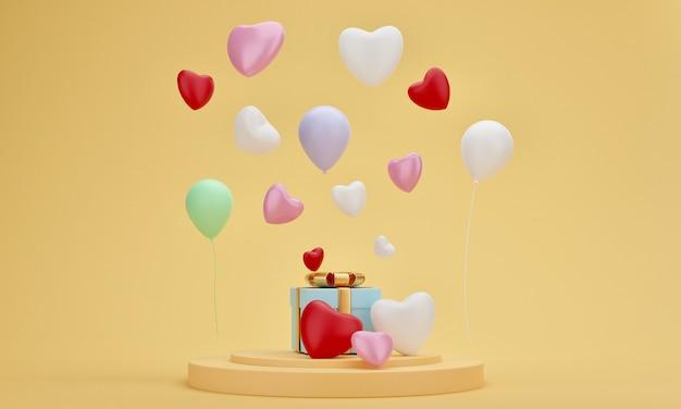 Pudełko, serce i balon na podium prezentacji z żółtym pastelowym tłem. minimalny ślub, urodziny lub wyjątkowy moment. renderowanie 3d