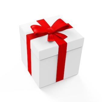 Pudełko w kolorze białym z czerwoną wstążką i kokardą na białym tle