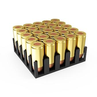 Pudełko z amunicją nabojów na białym tle