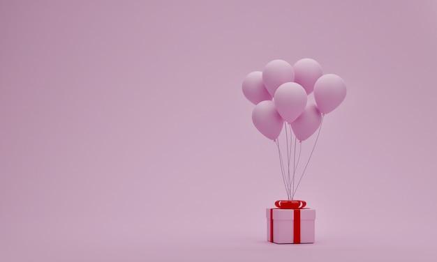 Pudełko z balonem na pastelowym różowym tle. koncepcja walentynki lub specjalny moment. pusta przestrzeń na twoją dekorację. renderowanie 3d