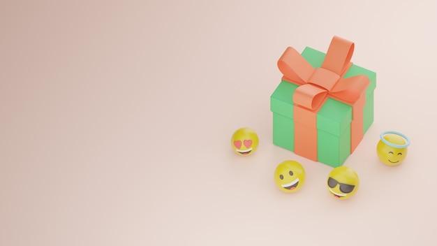 Pudełko z prezentami 3d i emoji i