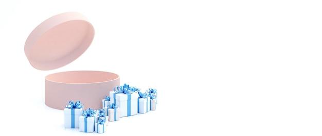 Pudełko z różowym cylindrem, otwórz pokrywę pudełka. otoczony wieloma niebieskimi pudełkami na prezenty. ustaw na białym tle.