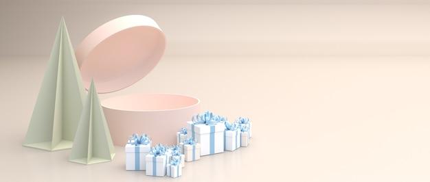 Pudełko z różowym cylindrem, otwórz pokrywę pudełka. otoczony wieloma niebieskimi pudełkami na prezenty. ustaw na kremowym tle.