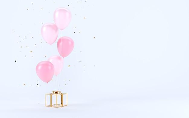 Pudełko z wstążką i balonem z pustym miejscem na tło tekstu