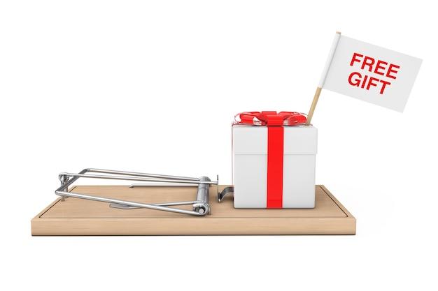 Pułapka na myszy z bezpłatnym pudełkiem prezentowym ze wstążką i kokardą oraz flagą ze znakiem przynęty na białym tle. renderowanie 3d.
