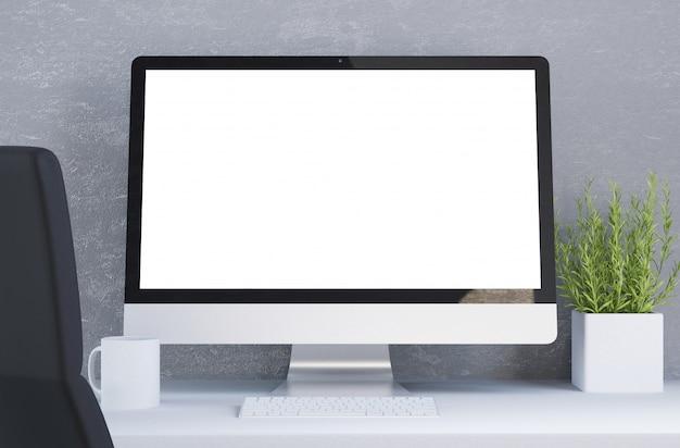 Pulpit z komputerem z białym ekranem