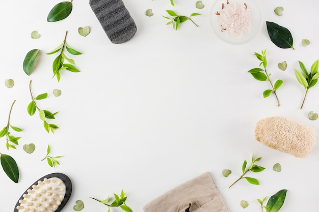 Pumeks; sól; szczotka do masażu; naturalna luffa ozdobiona zielonymi liśćmi na białym tle