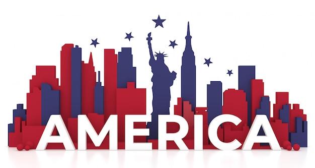 Punkt zwrotny miasto nowy jork, ameryka dla wakacji i podróż plakat, w 3d ilustraci.