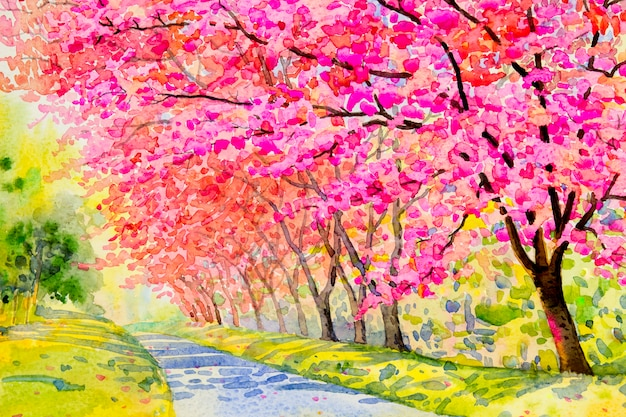 Puple kwiatowa krajobraz, różowy kolor dzikiej wiśni himalajskiej