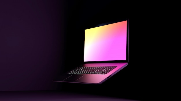 Purpurowa laptopu 3d ilustracja. ciemne tło, czarny biurko z kolorowym różowym fioletowym jasnym wyświetlaczem.