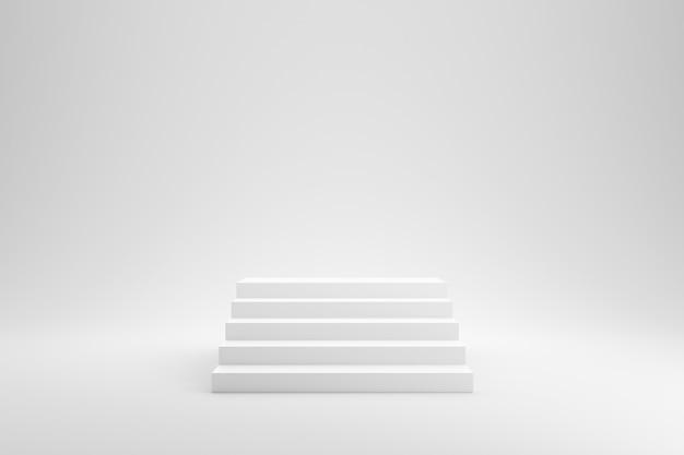 Puści schodki lub schody na białym pracownianym tle z sukcesu pojęciem. renderowanie 3d.
