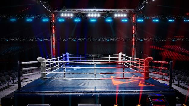 Pusta arena bokserska czeka na nową okrągłą ilustrację renderowania