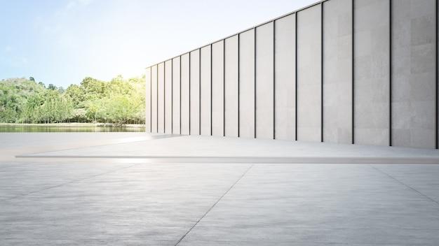 Pusta betonowa podłoga i szara ściana