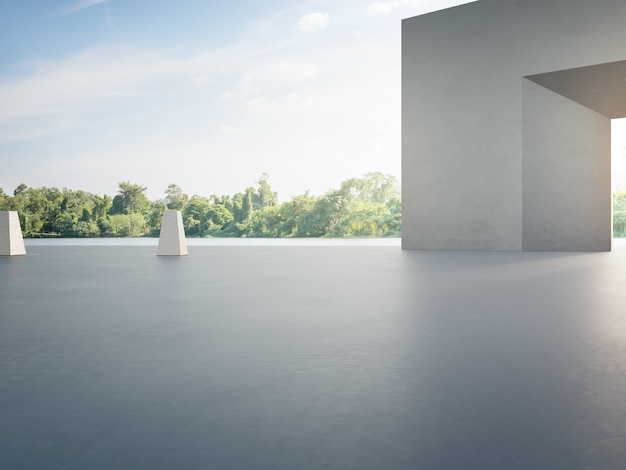 Pusta betonowa podłoga na parking i szara ściana