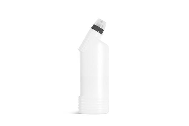Pusta biała butelka detergentu, widok z przodu