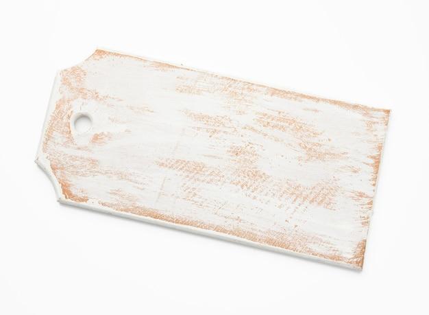 Pusta biała drewniana kuchnia deska do krojenia na białym tle, widok z góry