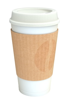 Pusta biała filiżanka kawy na wynos z silikonową osłoną i brązowym kartonowym rękawem z ornamentem nadruku ziaren kawy, izolowana na białym tle. ilustracja 3d