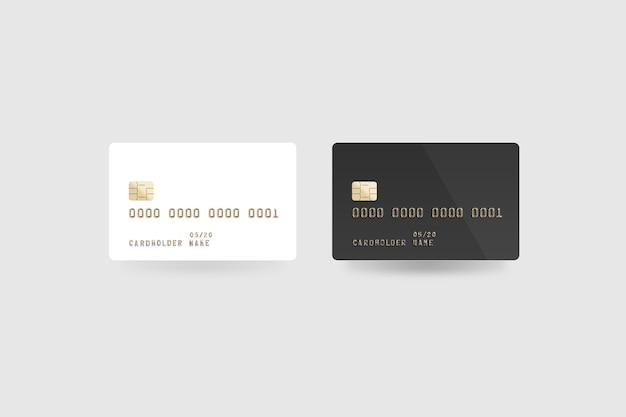 Pusta biała karta kredytowa na białym tle, z przodu iz tyłu