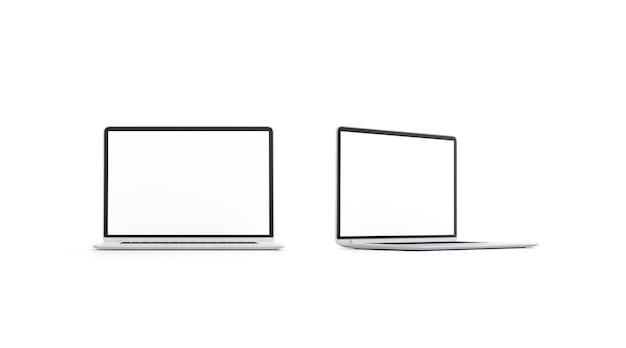 Pusta biała makieta ekranu laptopa zestaw widok z przodu i z boku pusta makieta wyświetlacza cyfrowego na białym tle