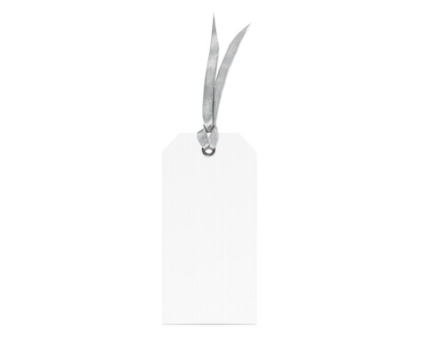 Pusta biała metka ze srebrnym ribandem na białym tle