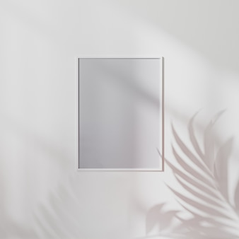 Pusta biała ramka plakatowa makieta na białej ścianie z cieniem liści palmowych, ilustracja 3d
