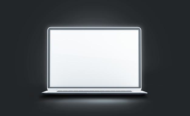 Pusta biała świetlna makieta ekranu laptopa pusta, świecąca, otwarta makieta wyświetlacza komputera