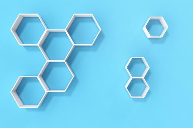 Pusta błękit ściana z sześciokąt półkami na ścianie, 3d rendering