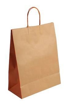 Pusta brązowa torba na zakupy na białym tle
