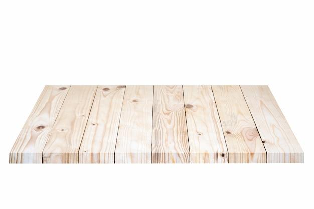 Pusta brown drewniana półka na białym tle.