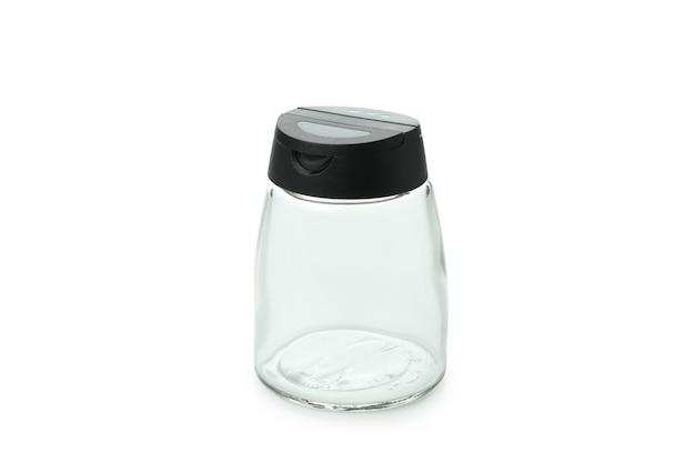 Pusta butelka przypraw na białym tle