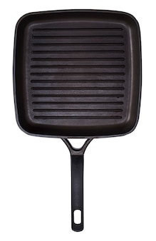 Pusta czarna kwadratowa patelnia grillowa