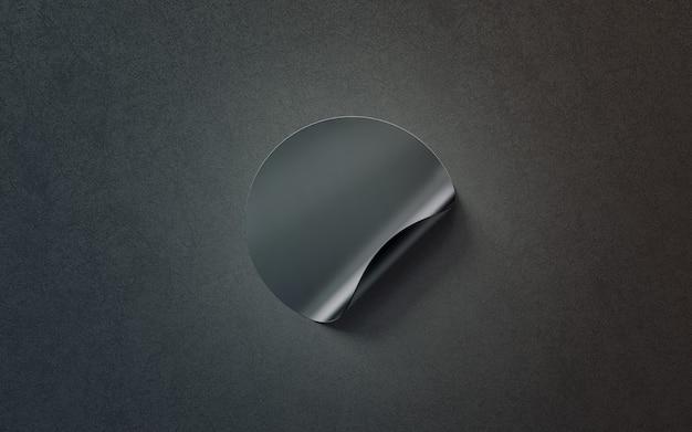 Pusta czarna okrągła naklejka samoprzylepna, widok z góry