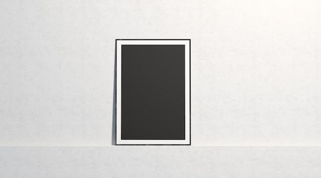 Pusta czarna papierowa makieta plakat, stojak na białej ścianie galerii, na białym tle