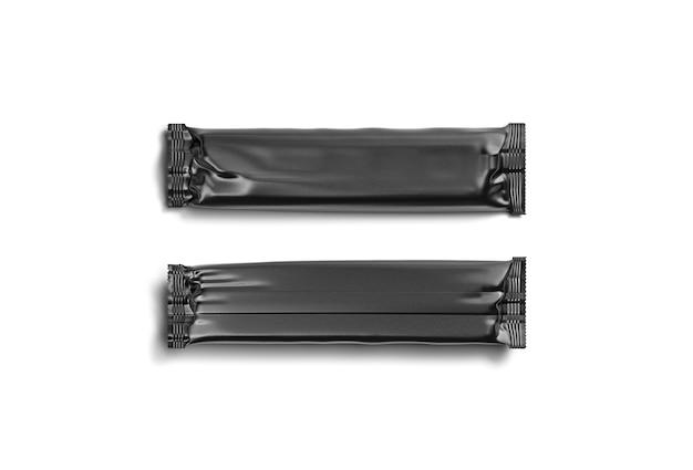 Pusta czarna prostokątna makieta z folii czekoladowej pusty deser zamknięte opakowanie makieta na białym tle