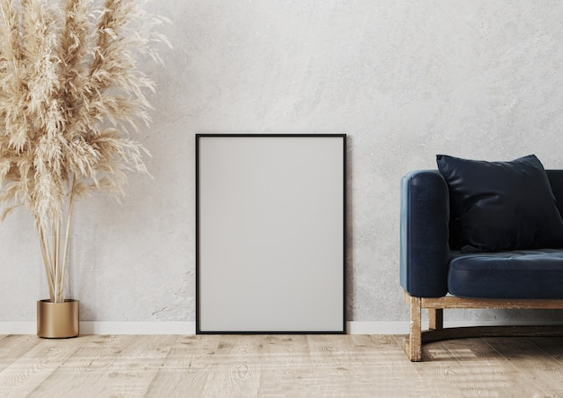 Pusta czarna rama plakatowa makieta na drewnianym parkiecie w pobliżu szarej betonowej ściany w nowoczesnej scenie projektowania wnętrz z niebieską sofą, wazonem, renderowaniem 3d