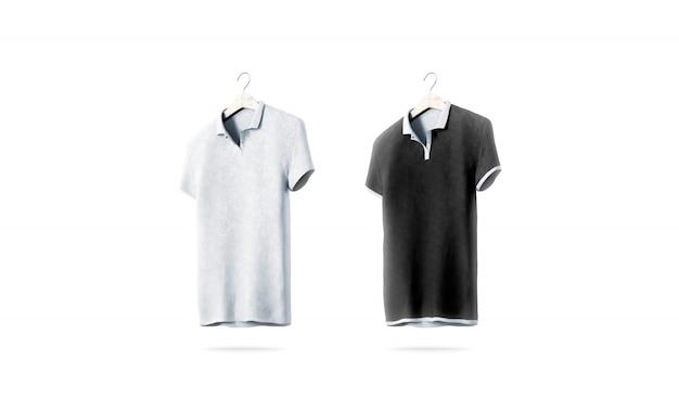 Pusta czarno-biała koszulka polo ustawiona na białym tle